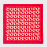 Paul Smith Men's Orange 'Peach Stone' Print Silk Pocket Square