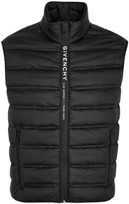Givenchy Black logo-trimmed quilted shell gilet