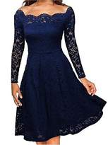 Come On Comeon Women's Vintage Floral Lace Long Sleeve Boat Neck Cocktail Formal Swing Dress