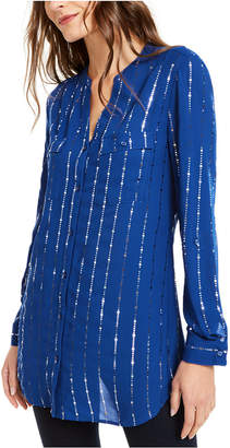 NY Collection Petite Embellished Y-Neck Shirt