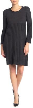 Max Studio Rib Knit Bell Sleeve Sweater Dress