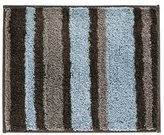 InterDesign Microfiber Stripz Bathroom Shower Accent Rug, 21 x 17, Mocha/Gray