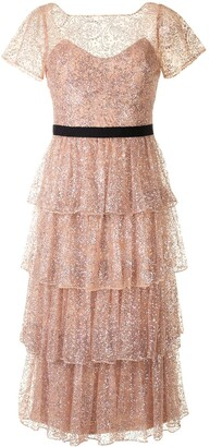 Marchesa Notte Tiered Glitter Cocktail Dress