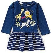 Mud Pie Baby Girls 9-18 Months Go Wild Animal Striped Sweatshirt Dress