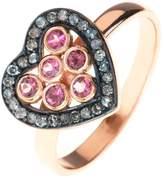 Latelita London - Diamond Heart Pink Tourmaline Ring