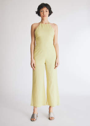 Which We Want Women's Wendy Tie-Back Jumpsuit in Lime, Size Small | 100% Cotton