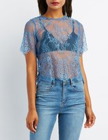Charlotte Russe Eyelash Lace Button-Back Top