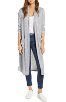 Bobeau Ribbed Knit Long Cardigan