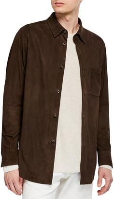 Ajmone Men's Lamb Suede Shirt Jacket