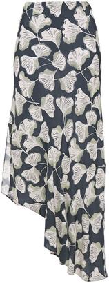 Charli Asymmetric Floral-print Crepe De Chine Midi Skirt