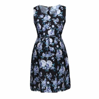 So Buts Maternity Dress SO-buts Women Mother Sleeveless Floral Flower Pregnancy Nusring Baby A-Line Loose Sundress Maternity Dresses (Black L)