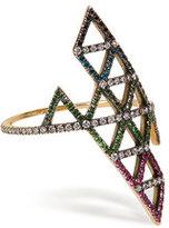 Lito Gold, Diamond, and Tsavorite Triangle Ring