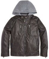 Urban Republic Boys' Faux Leather Fleece Hood Jacket - Sizes 4-7
