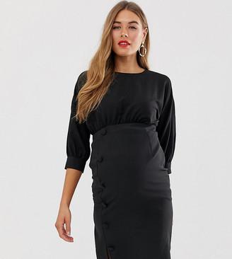 Asos DESIGN Maternity midi pencil dress with button skirt