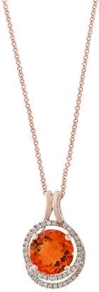 Effy 14K Rose Gold Citrine & Diamond Pendant Necklace