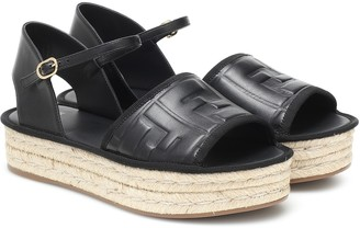 Fendi FF leather espadrille sandals