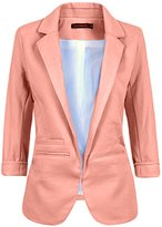 Legou Women 3/4 Sleeve Lapel Collar Slim Short Blazer S