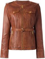 MICHAEL Michael Kors multi-pocket zipped jacket - women - Lamb Skin/Polyester/Spandex/Elastane - S