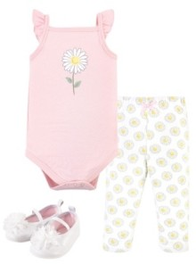 Hudson Baby Girls Daisy Bodysuit, Pant and Shoe Set, Pack of 3