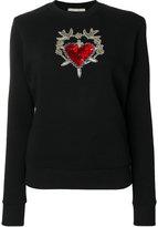 Amen embellished heart and dagger sweatshirt
