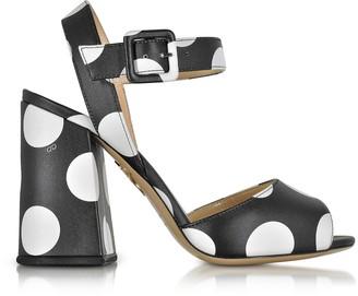 Charlotte Olympia Emma Black Polka Dot Print Leather Sandal
