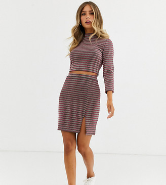 Wednesday's Girl mini skirt with split front in sparkle stripe two-piece-Multi