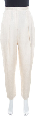 The Row Cream Floral Embossed Jacquard High Waist Trousers S