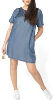 Evans Plus Size Women's Embroidered Chambray Tunic Dress