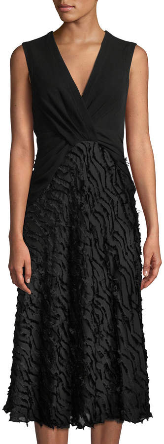 Yigal Azrouel Sleeveless Chevron Fil Coupe Skirt Midi Dress