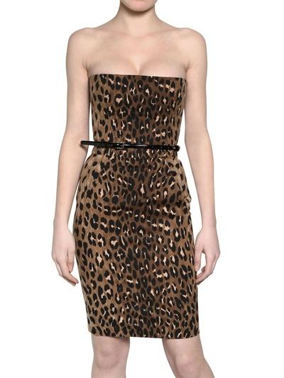 DSquared Leopard Print Cotton Gabardine Dress