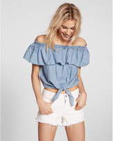 Express Off The Shoulder Tie Front Denim Blouse
