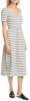Club Monaco Stripe Scoop Neck Midi Dress