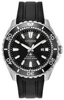 Citizen Rubber Strap Diver's Watch, Black/silver