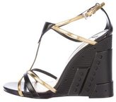 Prada Leather T-Strap Wedge Sandals