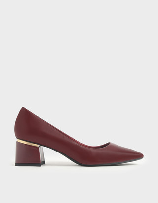 Charles & Keith Metal Accent Block Heel Pumps