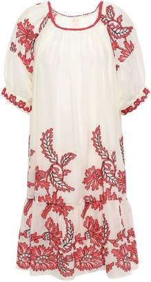 Anna Sui Embroidered Cotton-gauze Mini Dress