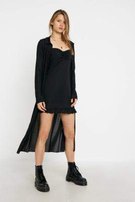 Urban Renewal Vintage Inspired By Vintage Black Ribbed Maxi Cardigan - black XS at Urban Outfitters