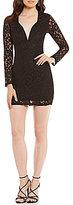 Xtraordinary Long Sleeve Glitter Lace Sheath Dress
