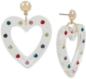 Betsey Johnson Gold-Tone Enamel Heart Drop Earrings