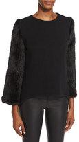 Co Knit Sweater w/Mink Fur Sleeves, Black