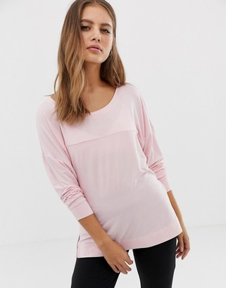 Calvin Klein long sleeve curve neck lounge top-Pink