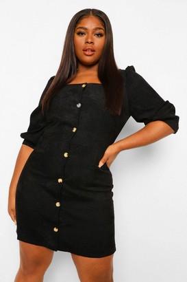 boohoo Plus Cord Volume Sleeve Denim Dress