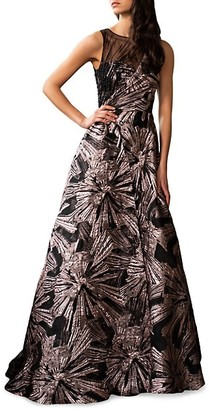 Theia Beaded Brocade Gown