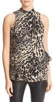 Parker Women's Rozlynn Animal Print Ruffle Tiered Silk Top