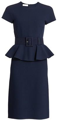 Michael Kors Belted Peplum Midi Dress