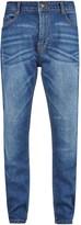 Burton Mens Big & Tall Mid Blue Carter Tapered Fit Jeans