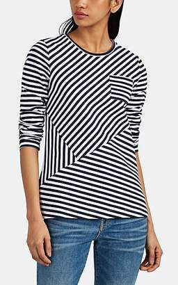 Barneys New York Women's Contrast-Striped Cotton Long-Sleeve T-Shirt - Navy