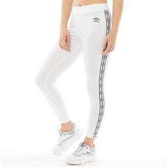 Umbro Womens Active Style Cotton Taped Leggings White