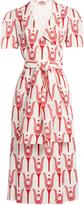 Miu Miu Tulip-print crepe midi-dress