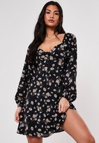 Missguided Black Daisy Button Milkmaid Skater Dress